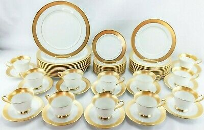 Oxford Lenox Maldon 60 PC SET for 12 Bone China Gold Encrusted USA Excellent