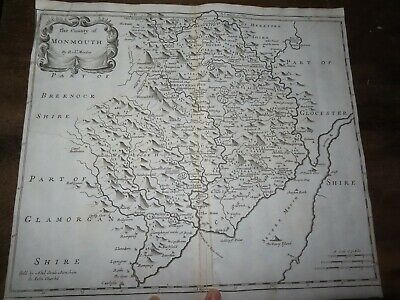 1695 Map Of Monmouth By Robert Morden Abergavenny Aber Gavenni Wales Speed *