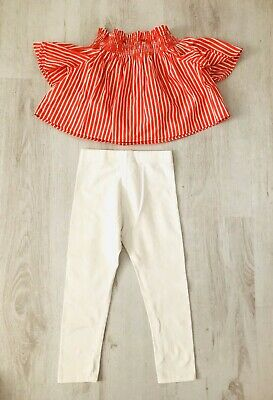 POLO RALPH LAUREN Girls Age 2 Yrs OFF-SHOULDER Striped Top White Leggings Outfit