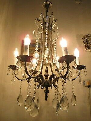 Antique Vnt French 6 Arms Brass Crystal Chandelier Lamp 1940's 20in Ø diametr RR