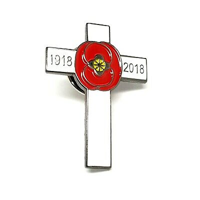 Lest We Forget 1918-2018 Cross 100 Years Poppy Armistice Remembrance Day Badge