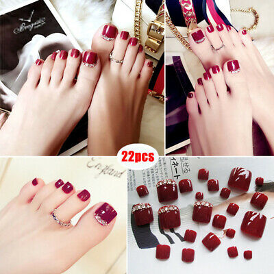 22Pcs Rouge Faux Ongle Orteil French Art Capsule Tips Pied Fake Toe Nail + Colle