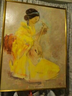 vintage painting oil on canvas chinese? japanese? asian woman with mandolin