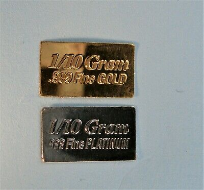 1/10 Gram Gold & Platinum Bar COMBO 999 Fine Bullion Bars in sealed certcard a28