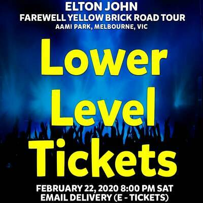 Elton John | Aami Park | Lower Level Tickets | Sat 22 Feb 2020 8Pm