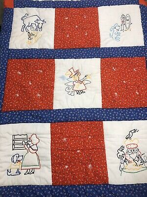 Vintage Handmade Quilt Baby Embroidered Nursery Rhymes Patchwork Calico Red Blue