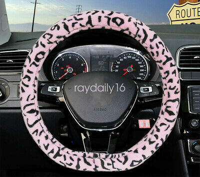 Leopard Print Soft Plush Car Steering Wheel Cover D-type Round Handle Cover