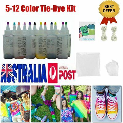 12 Colour Bottle Tie Dye Kit + 40 Rubber Band + 4 Pairs Vinyl Gloves DIY Kit 8#