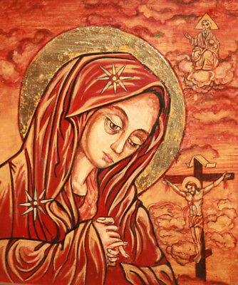 Hand painted tempera on wood icon The Virgin