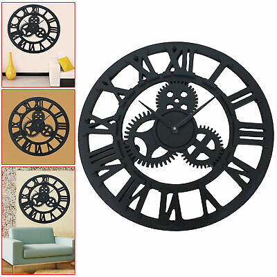 40Cm Large Outdoor Garden Metal Wall Clock Big Roman Numerals Giant Open Face