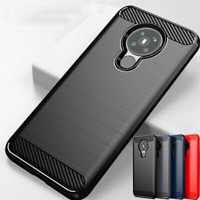 For Nokia 7.2 6.2 Hybrid Rugged Armor Carbon Fibre Soft Silicone TPU Case Cover