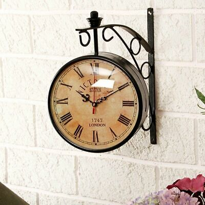 """6"""" Victoria Station Antique Brass Double Sided Railway Clock Nautical Wall Decor"""