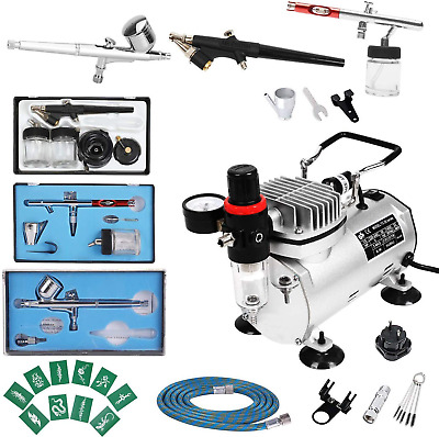 Display4top 1/5HP Multi-purpose Pro Airbrush Compressor Kit System, with 2 0.8mm