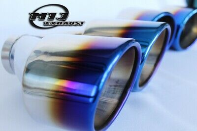 Pair Of Blue Burnt Tip Twin Exhaust Tailpipes Stainless Sports Trim High Quality