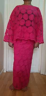 Ladies African Pink Lace Buba And Iro UK Size 18