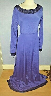 Dark Blue Simple Long Dress Medieval Fantasy Corset Lace Up Sleeves XXL 14/16