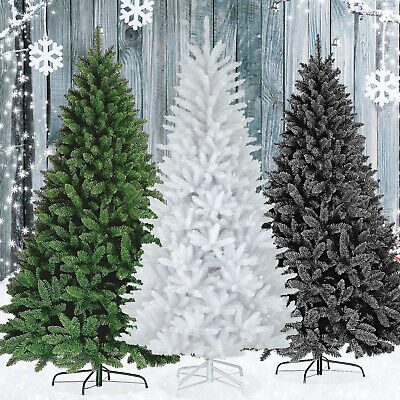 Premium Green 4ft,5ft,6ft Pine Artificial Frosted Snow Tips Cone Red Barry Tree