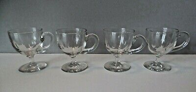 Four Antique 19Th Century Glass Victorian Custard Cups Petal Cut