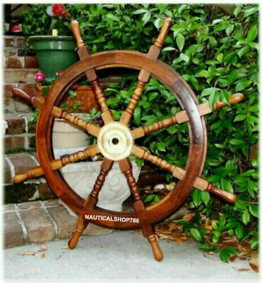 Big Ship Steering Wheel Wooden 36 Inch Antique Brass Nautical Pirate Ship's