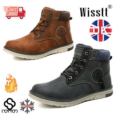 Winter Boots Work-Shoes Martin Fur Lined Waterproof Warm Men Leather Comfortable