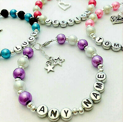 ANY NAME Girls Ladies personalised bracelet birthday xmas gift party bag gifts