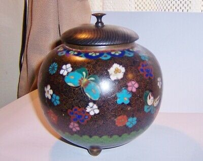 Antique Chinese Cloisonne Footed covered Jar bronze signed tag on bottom