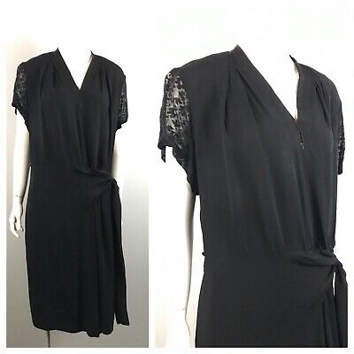 1930s Black Dress / Art Deco Short Sleeve Party Dress / Women's Small AS IS