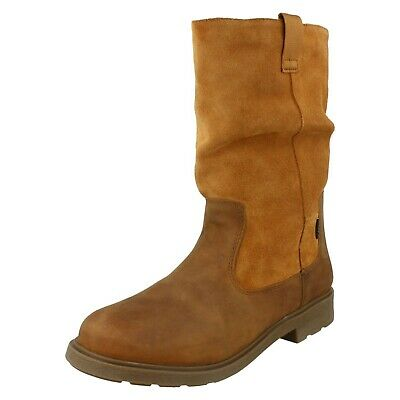 Girls Clarks 'Astrol Rise' Tan Leather Waterproof Boots - F Fitting