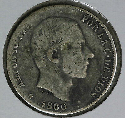 Rare Date 1880 Philippines 20 Centimos Silver Coin!!