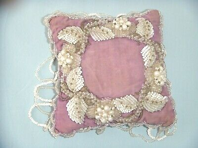 Lovely Antique Victorian Vintage Hand Beaded Pin Cushion, Perfect.