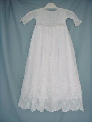 Gorgeous Antique Hand Made Pure Cotton Muslin Christening Gown And Petticoat