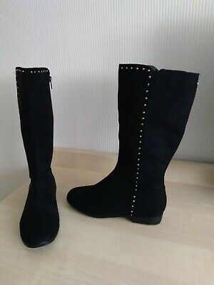 """BNWT Marks & Spencer """"Kids""""  Girls Long  Black Faux Suede Boots Size 2"""