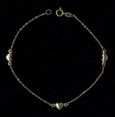 "New 10K Fine Solid Yellow Gold 7.25"" Rope Link Heart Tennis Bracelet Chain CN"