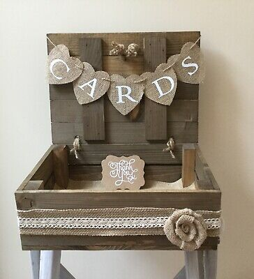 Wooden Shabby Chic Wedding Cards Box Suitcase  Cards Bunting Liner  Thank You