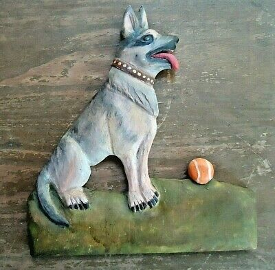 Vintage Antique Folk Art Hand Carved Wooden Dog With Ball Plaque