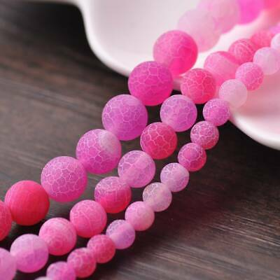 6/8/10mm Natural Round Rose Frosted Agate Stone Gemstone Loose Beads Jewelry Lot