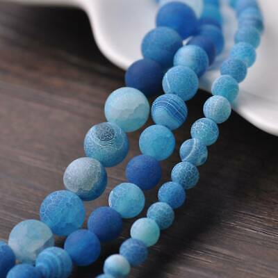 6/8/10mm Natural Round Lake Blue Frosted Agate Stone Gemstone Loose Beads Lots