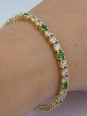 Gold On Solid Sterling 925 Silver Clear And Green Stone Bracelet