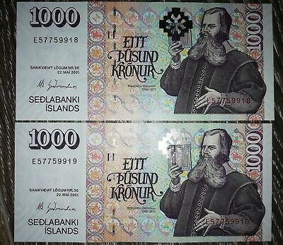 Iceland: 2 x 1000 Kronur banknotes issued in 2001. AUNC Condition, consecutive.