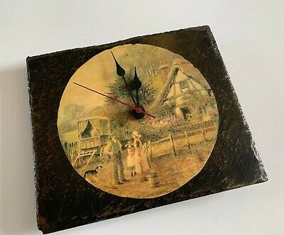 Vintage Pictured Slate Tile Wall Clock -Junghans W738 Quartz Battery - Germany