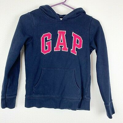 Gap Navy Girls Hoodie Sweater Pullover Soft Cotton Blend Ribbed Cuff Size Large