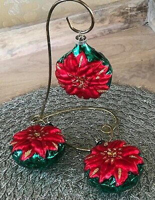 Lot of 3 Embossed Red Poinsettia Christmas Glass Ornaments EUC!