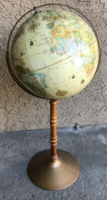 "Vintage 16"" Replogle World Classic Series Floor Globe Topographic Map 39"" Tall"
