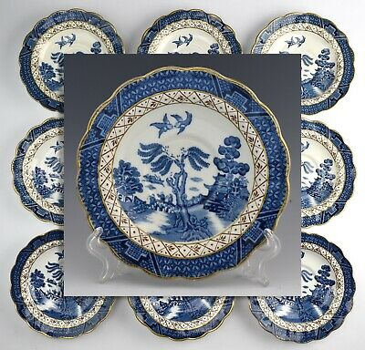 """(9) Vintage Booths """"Real Old Willow"""" A8025 China Saucers RB-7"""