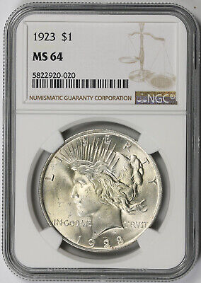 1923 Peace Dollar Silver $1 MS 64 NGC