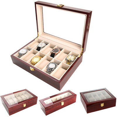 61012 Grid Watch Box Display Case for Men Women Jewelry Organizer Gift Box US~
