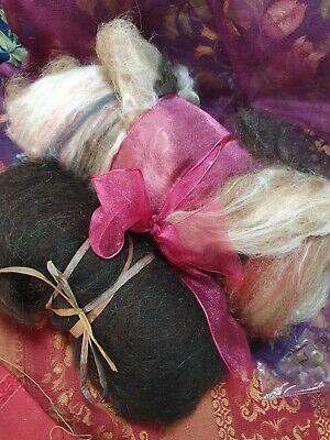 129gr Wool Batts Alpaca Locks,Soy Flax Silk Tussah Silk  Spin Felt Crafts