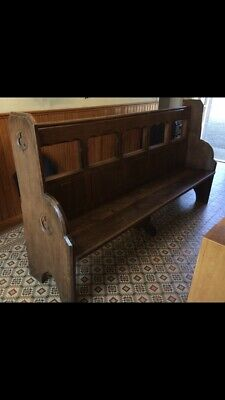 Lovely Antique Solid Oak Church Chapel Pew Bench
