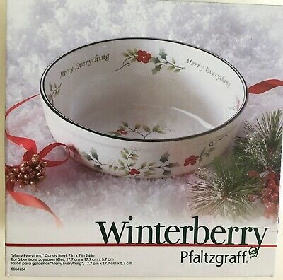 Pfaltzgraff Winterberry Christmas Holiday Merry Everything Candy Bowl Red Green
