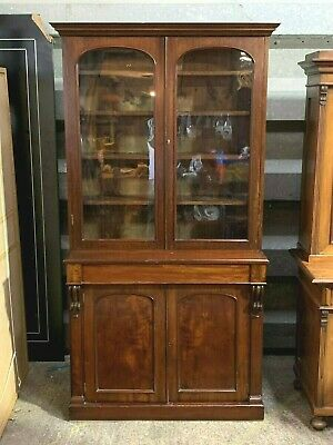 Superb antique Victorian mahogany glazed bookcase dresser cabinet tall & slim